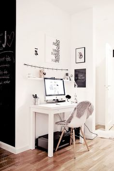 Perfect corner office space for a small apartment #home office #workspace #desk