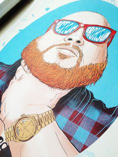 Action Bronson on Behance #shades #beard #design #rap #plaid #bronson #illustration #tattoo #poster #watch #music #gold #rolex #ginger #drawing #hip #hop #action