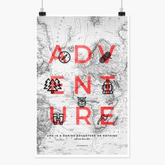 Wanderlust Adventure art-print from Letternote #poster #typography #artprint #adventure #wanderlust #travel #design #minimal