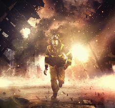 Caucasian firefighter running in burning building