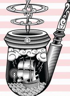 Garito Café / Bitácora Series II - www.vicentegarciamorillo.com #illustration #vector #pipe