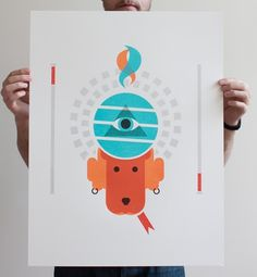 Justin LaFontaine #illustration #orange #poster #dog