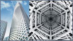 Shape Shifting Surfaces on Aluminum Trim #architecture #hexagon #vortex