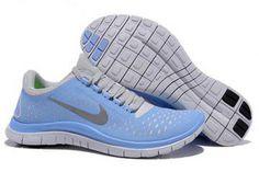 Nike Free 3.0 V4 Running Shoe Photo Blue Reflective Silver Womens #shoes