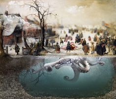 Covert old winter painting to alive 3D scene with funny effects sich as underwater scene, octopus, ice hole, add Tilt Shift Effect, realisti
