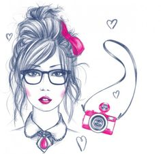 Illustrations on the Behance Network #girl #pink #draw #cam #lomo #illustration #pencil