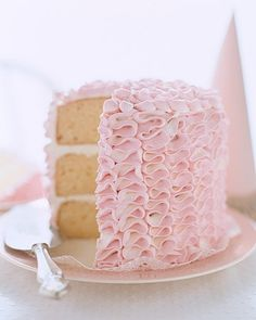 Ruffle Tower Cake - Kids' Birthday Cake Recipes - Great Cake Recipes - MarthaStewart.com #pink #cake #baking #home