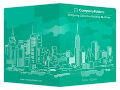 New York City Skyline Presentation Folder Template #template #city #illustrator #presentation #folders #illustration #york #nyc #aqua #skyline #folder #new