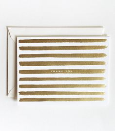 Rifle Paper Co.: Gold Painted Stripes Thank You Card #card #print #floral #paint #illustration #stationery #flower #typography