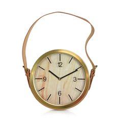 Round Brass Strap Clock With Tan Strap 33cm
