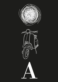 spaghetti vespa - typo/graphic posters #white #spaghetti #black #vespa #typography