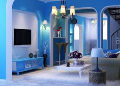 Painting Room With Hues Of Blue - www.homeworlddesign. com (4) #design #decor #blue #room #decoration