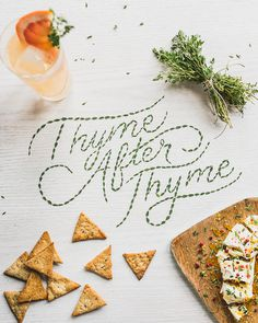 food, lettering, thyme
