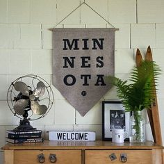 New vintage Minnesota pennant from sota clothing. #interior #design #pennant #art #type #typography