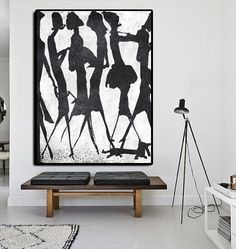Hand-painted black and white Minimal painting on canvas – CZ Art Design