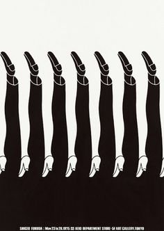 Negative space at its finest. Shigeo Fukuda — Lost At E Minor #white #fukada #shigeo #black #legs #exhibition #poster #and #feet