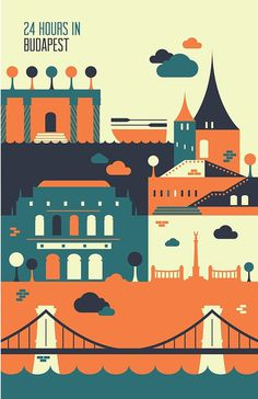 24 hours in Budapest. #24 #budapest #hours #illustration #poster