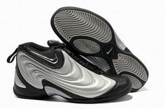 silver and black flightposite nike shoes