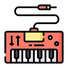 See more icon inspiration related to electric keyboard, music and multimedia, electric piano, music instrument, musical instrument, piano, electronics, keyboard and music on Flaticon.