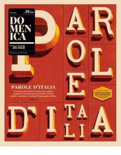 "Typographic Life - Cover for Italian magazine ""Domenica"" ... #red #domenica #cover #type #magazine #typography"