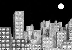 Blague #city #night #illustration #building #french #semp #drawing #moon