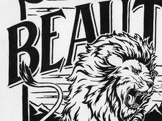 Beaut #white #lion #black #pen #and