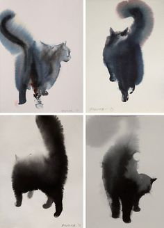 KONING — Black Ink Cats by Serbian artist Endre Penovác.... #black cat #illustration #cat