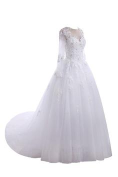 Robe de mariée chic versicolor longueur au niveau de sol avec perles satin extensible - photo 5