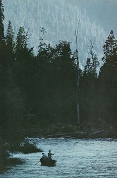 Trout fishermen at twilight on the McKenzie River near Springfield, Oregon National Geographic | January  1969