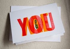 You & Me Wood Type Card ☆ Constellation & Co. #card #letterpress #love