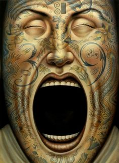 Lover & Scorpio - inkbutter: Tattoo Face by Anita Kunz #scream #illustration #photoshop #tattoo #face #tattoed