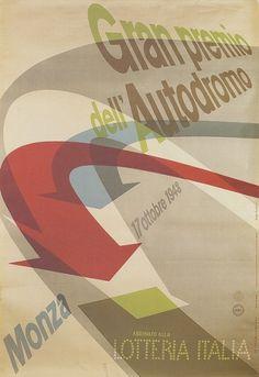 Max Huber, Gran Premio Dell' Autodromo Monza, 1948 #max #huber #19458 #design #graphic #poster