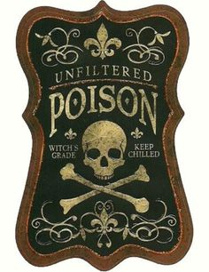 RELIC #cream #black #label #illustration #brown #skull #poison
