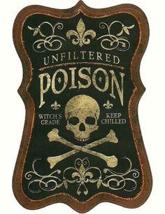RELIC #cream #black #label #illustration #brown #skull #poison