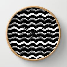Ink waves Wall Clock #interior #ink #pattern #white #black #handmade #and