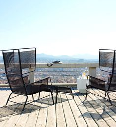 Outdoor Seating for Long Summer Evenings black steel frame cord chair