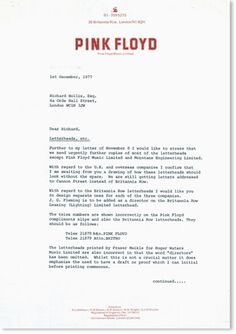 Pink Floyd « Richard Hollis Design Works #print #1972 #stationery #music #letterhead