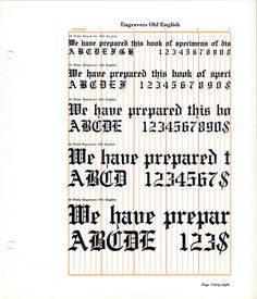 Engravers Old English font specimen #blackletter #type specimen