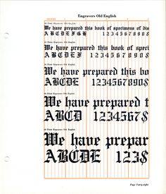 Engravers Old English font specimen #type #blackletter #specimen
