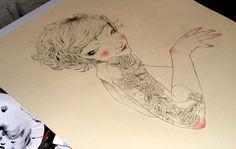 work in progress on Behance #sexy #red #hair #women #illustration #drawn #tattoos #pencil #hand #flowers