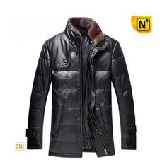 Classic Mens Lether Down Jacket with Fur CW860028