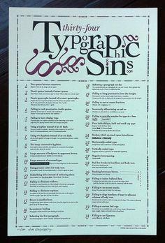 Typographic Sins Poster – Typography inspiration on MONOmoda #poster #typography