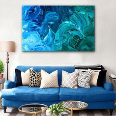 """""""Blue Spray Fantasy"""" Hand Painted Abstract Oil Painting"""