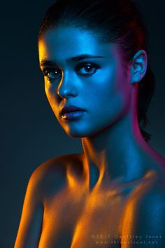 Nocturne by *Eman333 #lights #orange #female #women #colored #portrait #purple #blue #skin #shiny