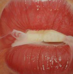d3dd9ad2063c2f83a54e952a559fac8a.jpg (600×605) #lips #painting #realistic