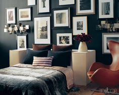 No need for a headboard #black #frames #wall