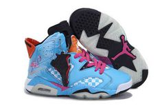 "Ladies Air Jordan VI ""Two Lace Edition"": Pink and Orange Blue #shoes"