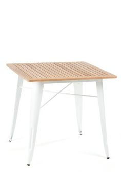 Four Square Table / Teak Top #tolix #white #wood #metal #table