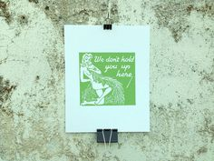 We Don't Hold You Up Here - 8 x 10 Mini Poster #kitsch #retro #girlie #illustration #vintage #etching #matchbook #art #burlesque