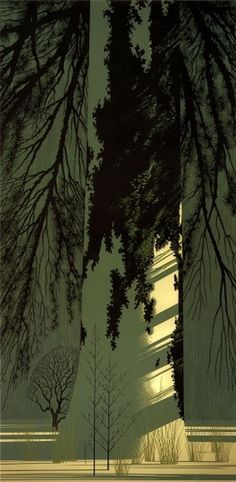 Eyvind Earle Forest #white #earle #snow #forest #eyvind
